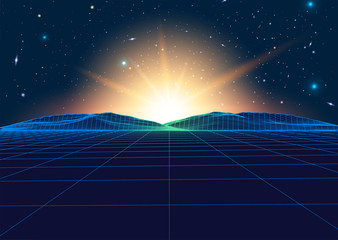 Vector Retro Futurism Old VHS Style Landscape 1980s Style.