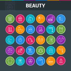 Beaty salon colorful icon set. Spa, recreation, wellness and beauty signs. Vector illustration