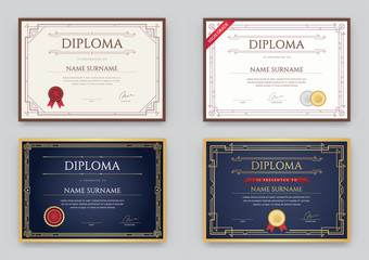 Big Set of Diploma or Certificate Premium Design Template in Vector