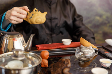 Chinese traditions. Preparation of the tea ceremony.