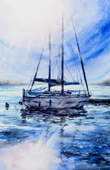 Sailboats in harbour with sun in background.Picture created with watercolors.