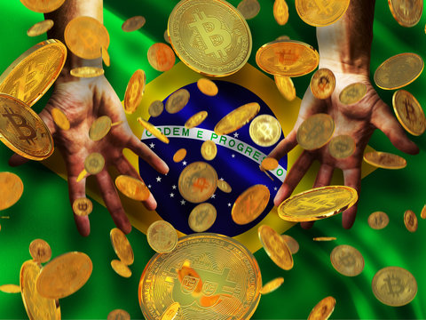 Bitcoin crypto currency Brazil flag A lot of falling  gold bitcoins Rain of golden coins fall to the palms of the hands on Federative Republic of Brazil  waving flag  background