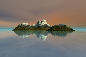 Island, a mediterranean landscape, snow on the peak, reflection in the sea and a cloudy sky.