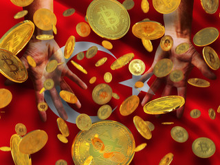 Bitcoin crypto currency Turkey flag A lot of falling  gold bitcoins Rain of golden coins fall to the palms of the hands on Republic of Turkey waving flag background