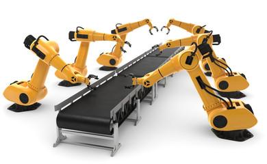 3D-Illustration Fließband mit Robotern