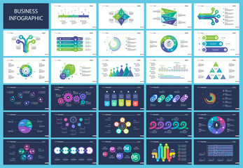 Set of workflow and strategy concept infographic charts. Business diagrams for presentation slide templates. For corporate report, advertising, banner and brochure design.
