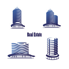 Vector icons for real estate construction.Vector icons of architecture, urban and suburban homes