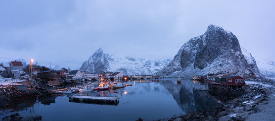 Panorama of Hamnoy Village in Lofoten island,Norway. One of the most famous fisherman village in Europe