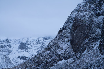 Detail of Snow mountain in Hamnoy Lofoten Island, Norway / Texture concept /Abstract Detail
