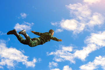 Rangers parachuted from military airplanes, Soldiers parachuted from the plane, isolated airborne soldier, practice parachuting, Paratroopers jumping from an airplane.