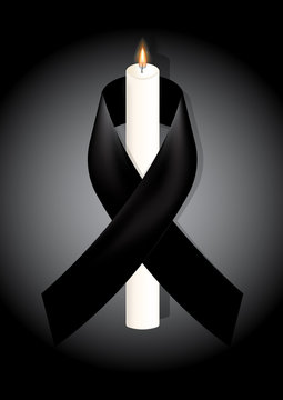 Black awareness ribbon with white candle on white background. Mourning symbol. RIP Funeral card Black Ribbon Background Vector