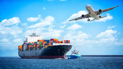 Container cargo freight ships and cargo plane for logistic Import export background