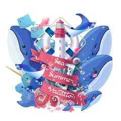 vector creative summer sea vacation collage