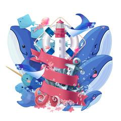 vector creative maritime ocean vacation collage