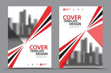 Fototapeta Red Cover template vector, Book Cover Design Template in A4. Brochure layout, Annual Report, Magazine, Poster, Presentation, Portfolio, Flyer, Banner, Website, leaflet, advertisement obraz