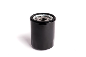 Oil filter black color cleaning internal combustion engine on a white background