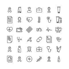 Simple collection of medical related line icons.