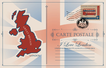 Retro postcard with map and flag of Great Britain. Vector postcard with place for text, postage stamp with double-decker London bus and rubber stamp in form of royal coat of arms of United Kingdom