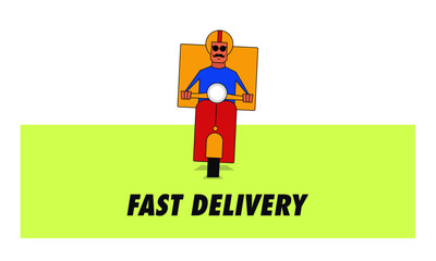 Food Delivery Concept. Delivery Courier Boy delivering  food on a retro scooter