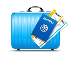 Suitcase for travel with passport and boarding pass tickets