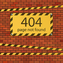 Error 404. Page not found. Danger sign on brick wall
