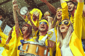group of fans dressed in yellow color watching a sports event