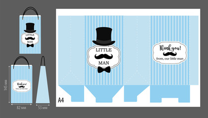 Black hat, mustache and bow tie. Printable template for little man's birthday(baby shower boy) party. Blue stripes pattern. Print and cut. Fast folded. Craft bag favor gift. Vector paper package.