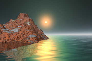 Sunset, a mediterranean landscape, rocky mountain, reflection in the sea, and a beautiful sun in the sky.