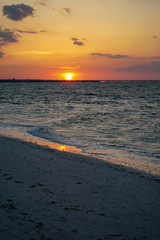 Scenic Evening Sunset over Ocean Waves in Florida