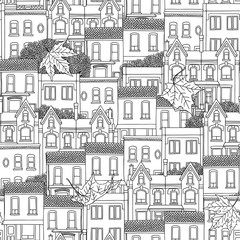 Hand drawn seamless pattern of Canadian houses