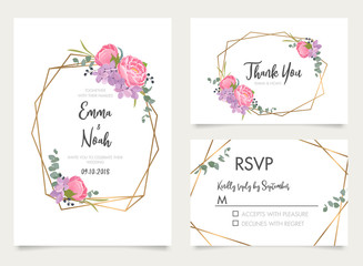 Wedding invite, invitation, save the date, rsvp, thank you card design with elegant summer flowers and forest green leaves. Geometric gold line frame. Floral design background. Vector template set
