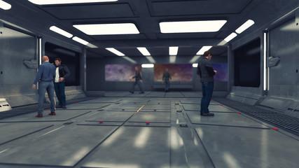 3d Render. Futuristic interior environment