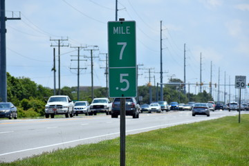Mile marker 7 and 7.5 on Outer Banks of North Carolina