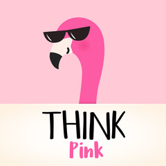 Cute cartoon pink flamingo character. Think pink quote. Vector design