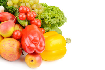 Fruits and vegetables isolated on white background. Free space for text.