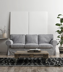 Mock up posters with gray sofa, Scandinavian mock up interior,  3d render, 3d interior