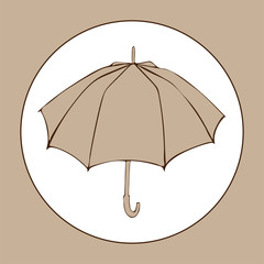 Opened umbrella isolated on white background. Umbrella icon in flat cartoon style for web site design,logo, app, UI. Autumn vector illustration. Beige colors.