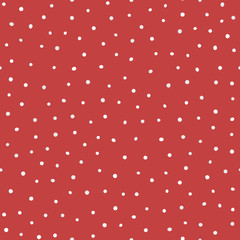 Repeated white and gray rounded dots on red background. Trendy seamless pattern. Endless print.