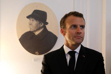 French President Emmanuel Macron attends the inauguration of the Clemenceau Museum during a visit to the home town of Georges Clemenceau, a major contributor to the Allied victory in WWI, in Mouilleron Saint Germain
