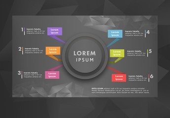 6 Color Tab Infographic with Polygonal Elements