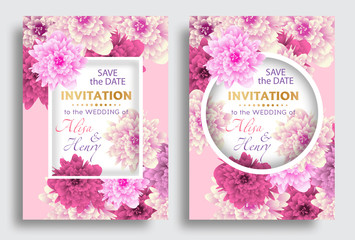 Set wedding invitation template with beautiful flowers greeting card. Vector