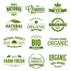 Natural, organic, bio, farm fresh badge, logo, icon, tag design collection. Bio healthy products labels