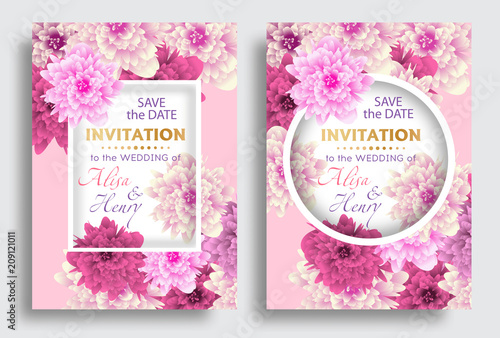 Set wedding invitation template with beautiful flowers greeting card set wedding invitation template with beautiful flowers greeting card vector stopboris Image collections
