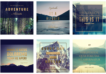 6 Social Media Post Layouts with Gold Accents