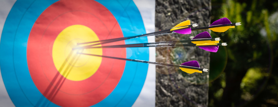 Target Archery, colorful arrows, daytime, banner
