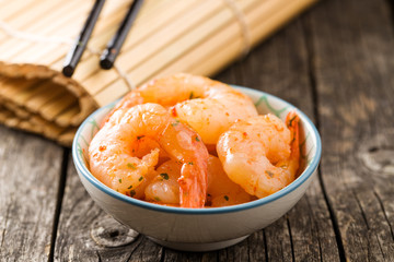 Tasty marinated shrimps.