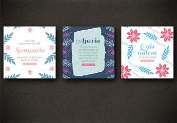 4 Social Media Post Layouts with Bright Floral Elements