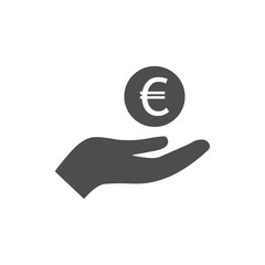 Open hand and euro icon. Vector illustration. Flat design.
