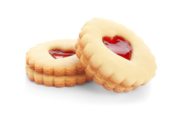 Poster Koekjes Traditional Christmas Linzer cookies with sweet jam on white background