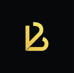Initial letter VB BV minimalist art logo, gold color on black background
